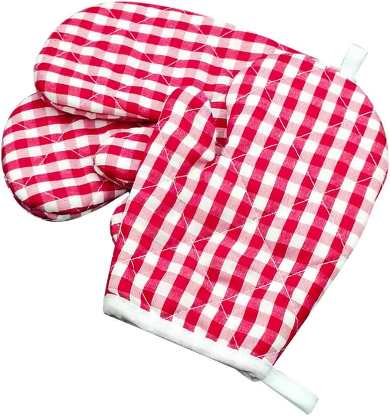 Hemoton Kids Oven Gloves for Children Play Kitchen Heat Resistant Kitchen Mitts for Kids Microwave BBQ Oven Baking Grid Mitts 2pcs