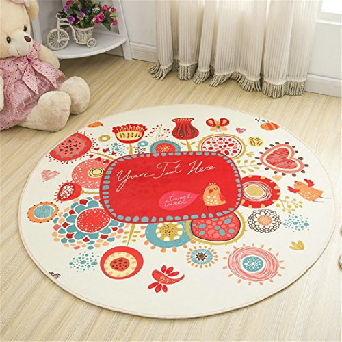 E-longonees Round Cartoon Style Kids Carpets Anti-Skid Rugs For - 1000 Spray Tack