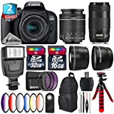 Canon EOS Rebel 800D/T7i Camera + 18-55mm IS STM Lens + Canon EF 70-300mm IS II Nano USM Lens + 6PC Graduated Color Filter Set + 2yr Extended Warranty + 32GB Class 10 - International Version
