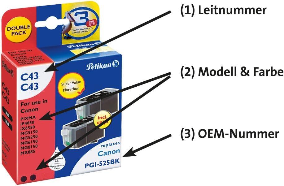 Pelikan Druckpatronen Doppelpack C43 Ersetzt Canon Pgi 525pgbk 2x Schwarz Pigment Bürobedarf Schreibwaren