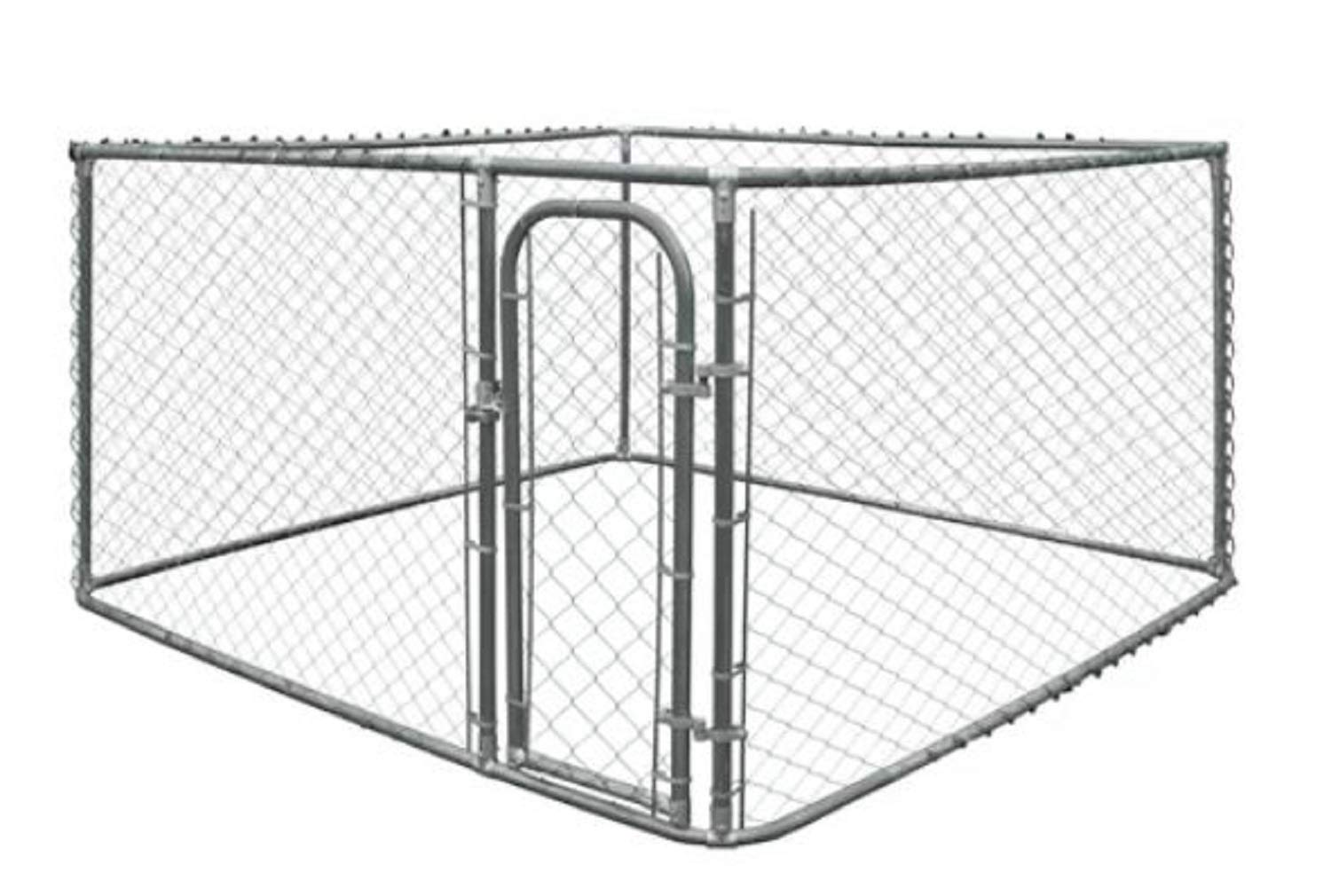 Chain Link Kennel. Merlin DIY Chain Link Kennel Designed with Your Dog's Comfort and Safety in Mind 72  H x 84  W x 84  D