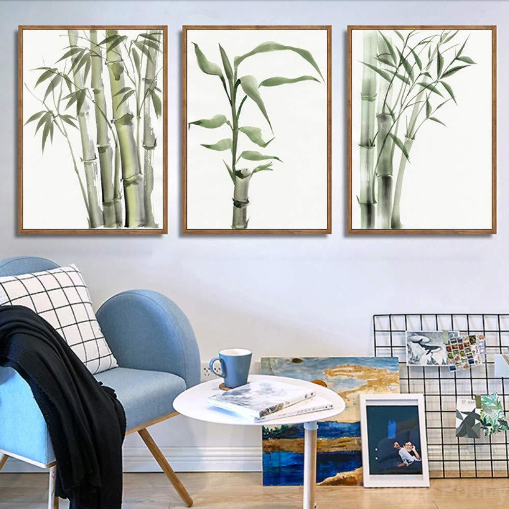 ZSHSCL Impresión En Lienzo De Pintura 3 Piezas Hoja De Bambú ...