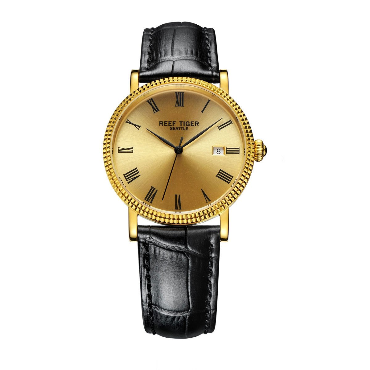 Reef Tiger Designer Dress Watches for Men Yellow Gold Case Leather Strap Date Automatic Watch RGA163