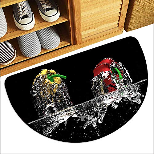 TableCovers&Home Colorful Semi-Circular Floor Mats Kinetic Water Entry Indoor Door Mat W35xH23 INCH