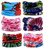 KINGREE 6PCS Outdoor Magic Scarf, High Elastic Womens and Mens Headbands with UV Resistance, Headscarves, Headwear, Mask (Tiedye)