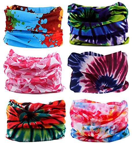 KINGREE 6PCS Outdoor Magic Scarf, High Elastic Womens and Mens Headbands with UV Resistance, Headscarves, Headwear, Mask (TieDye) -