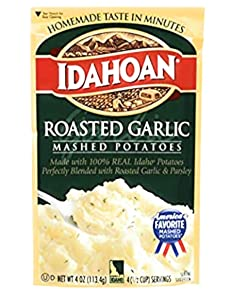 Idahoan Roasted Garlic Mashed Potato (Pack of 3) 4 oz Bags