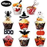Halloween Cupcake Topper, 48pcs Halloween Cupcake Wrapper Mini Cake Decorations for Halloween Party Supplies Party…