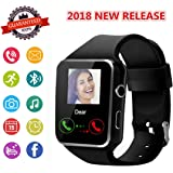 Smartwatch, Bluetooth Smart Watch Phone with SIM Card Slot Pedometer Camera Notification Sync Compatible with Android and IOS IPhone (App Unavailable) for Men Women Kids (Black)