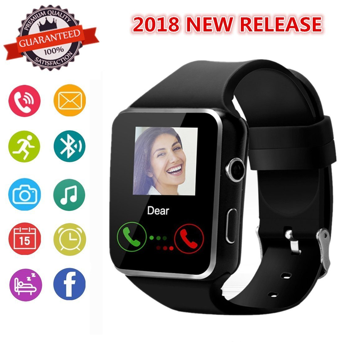 Smartwatch, Bluetooth Smart Watch Phone with SIM Card Slot Pedometer Camera Notification Sync Compatible with Android and iPhone (App Unavailable) for Men Women Kids (Black)
