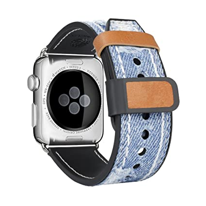 Amazon.com: Apple Watch Banda, top4cus Jean azul de tela ...