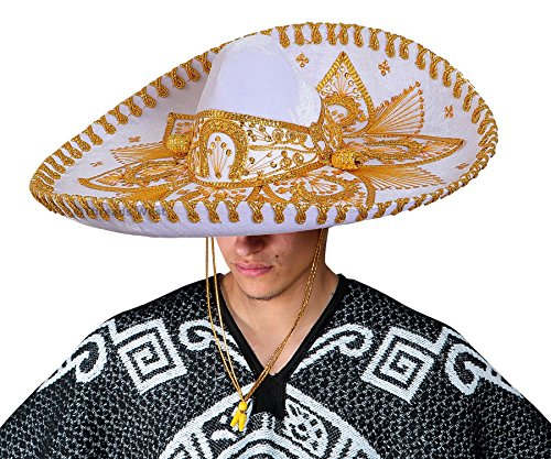 Premium Adult Mariachi Sombrero Charro Hat, Mexican Hat (White and (Mexican Sombrero)