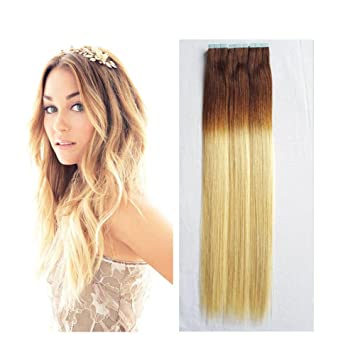 Amazon Com Re4u Tape In Ombre Hair Mixed Colour 6 Chestnut Brown