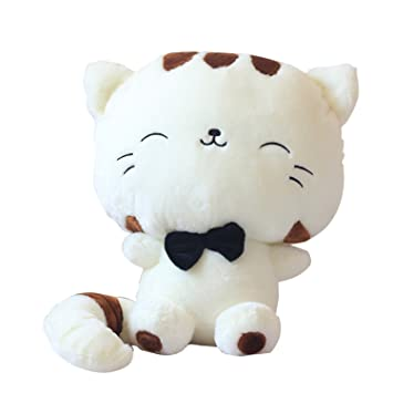 Pequeño peluche peluches cojín fortuna gato muñeca almohada con Linda cola Beige