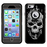 Skin Decal for Otterbox Defender Apple iPhone 6 Plus Case - White Flaming Skull on Black