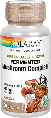 Solaray Organically Grown Fermented Mushroom Complete 600 Mg Supplements, 60 Count