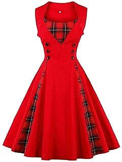 6951f2460b FTVOGUE Vestido de Mujer de Costura Escocesa Vintage con Sin Mangas Ajuste  Delgado del Botón de