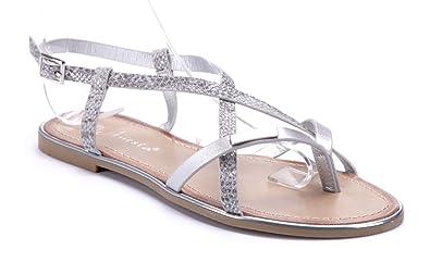ff67ce5933211f Schuhtempel24 Damen Schuhe Zehentrenner Sandalen Sandaletten Silber flach