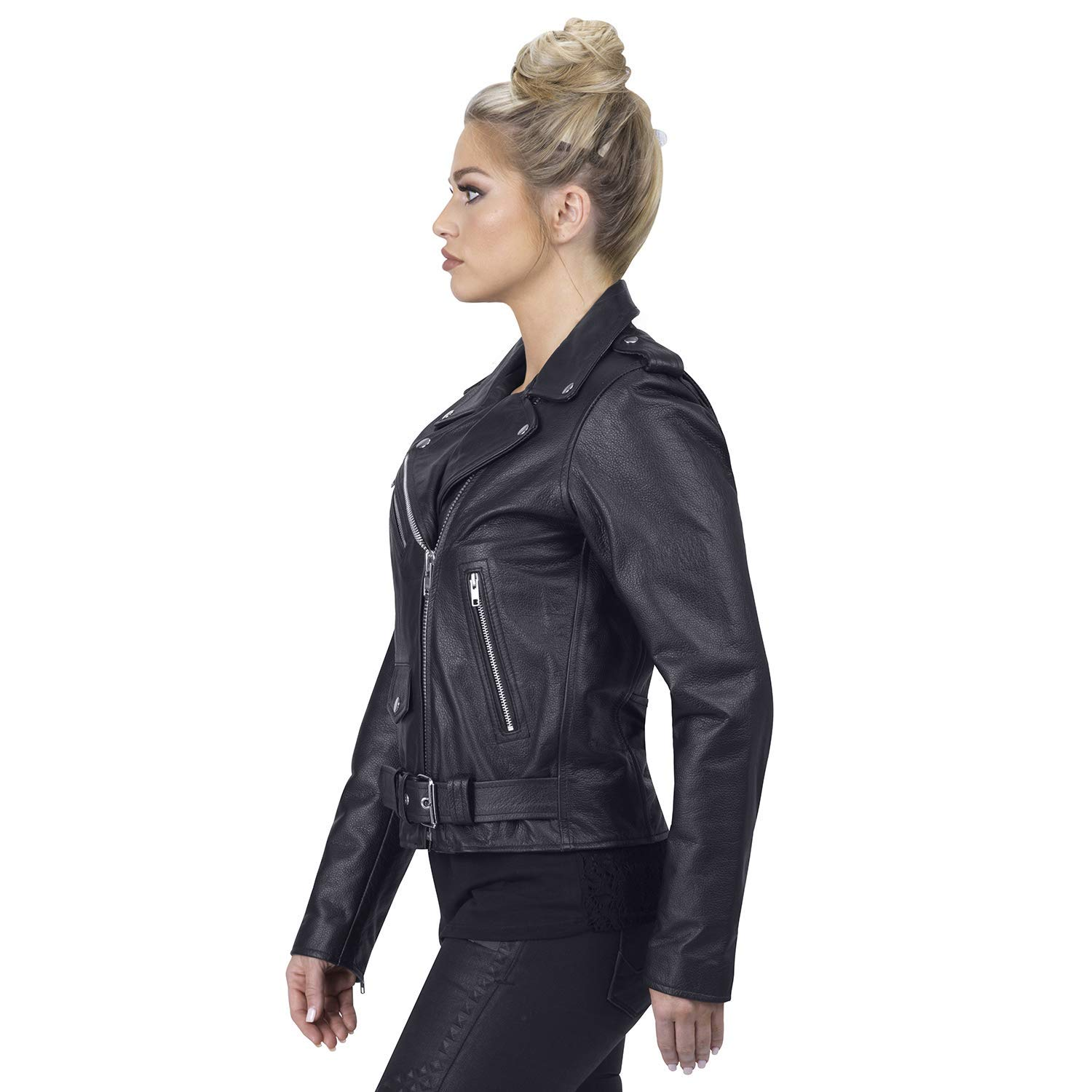 Fashionable Slim Waist Viking Cycle Fire Goddess Motorcycle Jacket for Women Black Classic Cruise Premium Biker Leather for Ladies