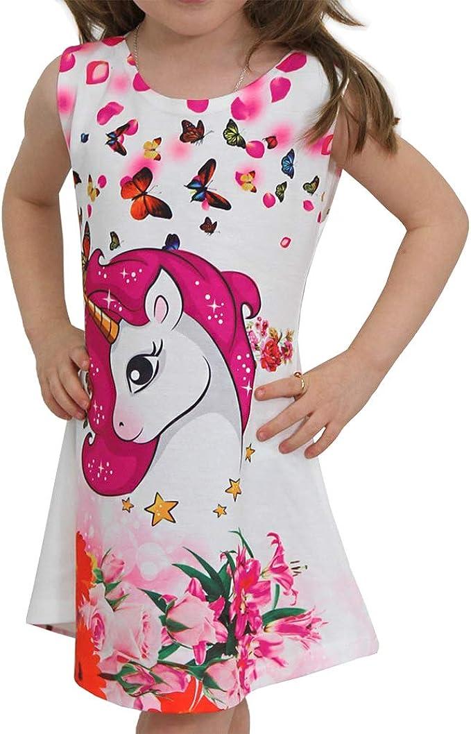 Einhorn Mädchen Kinder Sommer Kleid mit Motiv Unicorn Pferd Paris Strand Unicorn