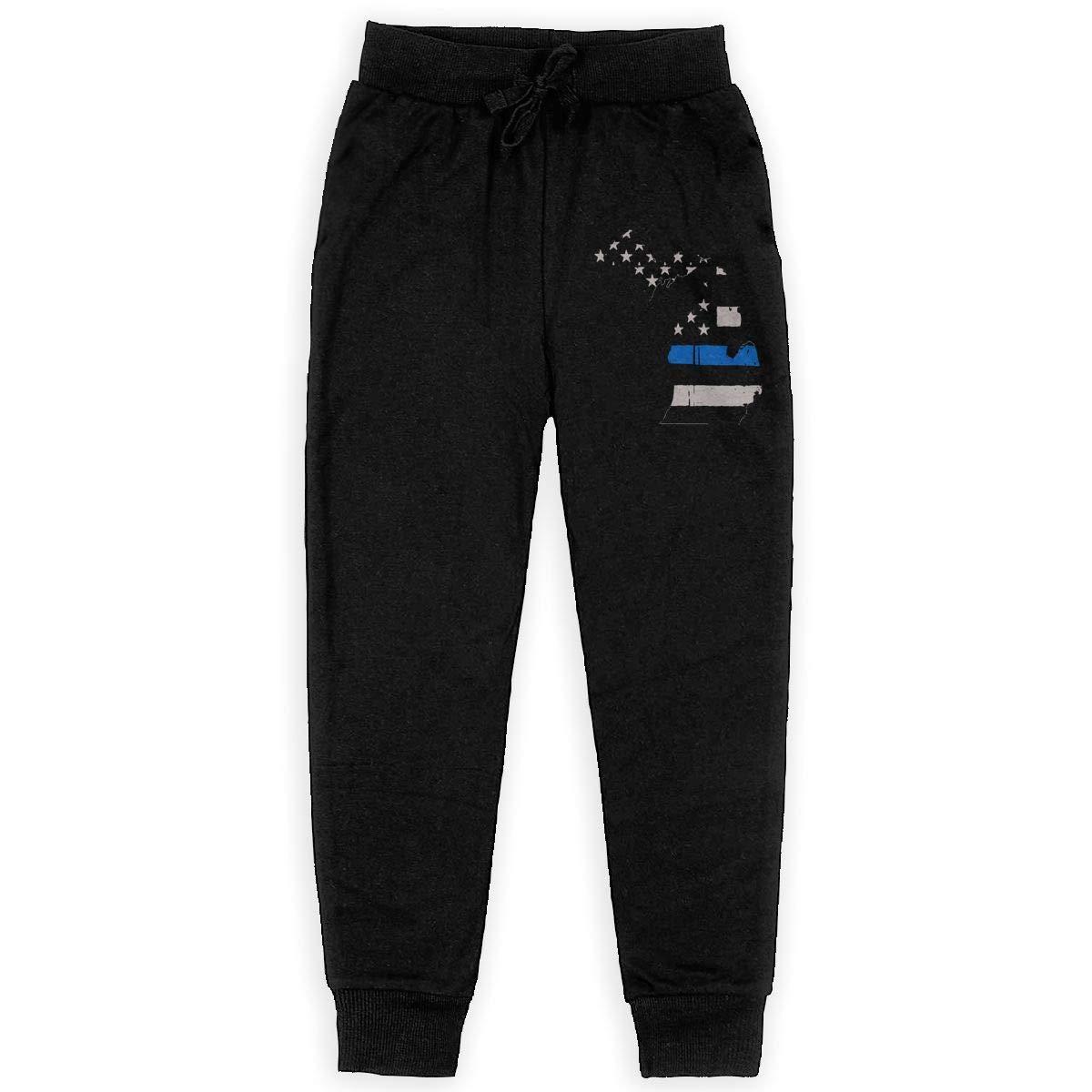 MAOYI/&J6 Michigan State Thin Blue Line Long Sweatpants Teens Boys Girls Casual Pants with Drawstring