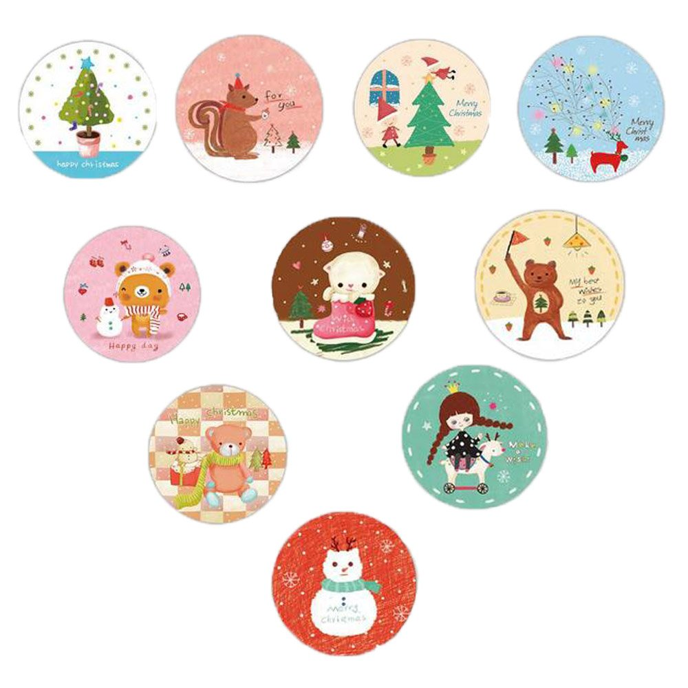 MissYou 20 Pack Assorted Cartoon Round Christmas Greeting Card with Free Envelope and Cute Sealing Sticker Ymiss