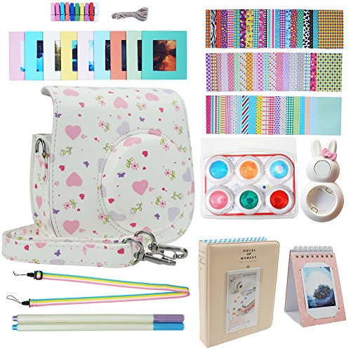 Blummy Instax Mini 9 Accessories Bundles for Fujifilm Instax Mini 8/ Mini 8+/ Mini 9 Instant Camera Including Camera Case/Book Album/Selfie Len/Wall Hanging Frames/Stickers/Strap/Pen (Love)
