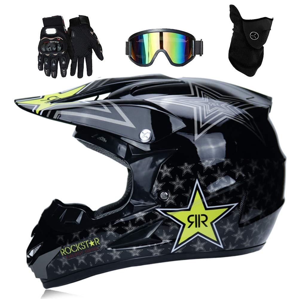 T Certificado Rockstar Gafas M/áscara Guantes S, M, L, XL Adulto Motocross Casco MX Moto Casco ATV Scooter ATV Casco D O