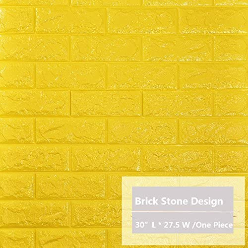 peel stick prepasted 3d bright yellow brick wallpaper wall decal for home decoration 2 6ft 2 3ft per four pieces 4 pack bright yellow