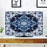 iPrint LCD TV Cover Lovely,Tie Dye Decor,Microcosm Motif Generated with Digital Large Volume Active Rough Effect,Royal Blue White,Diversified Design Compatible 65'' TV