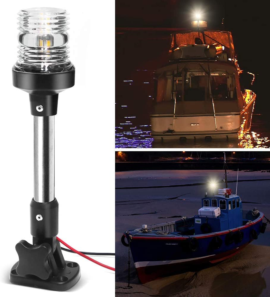 Obcursco Adjustable Boat Stern Light White All Round Anchor Light 9 Inch Fold Down Boat Stern Light