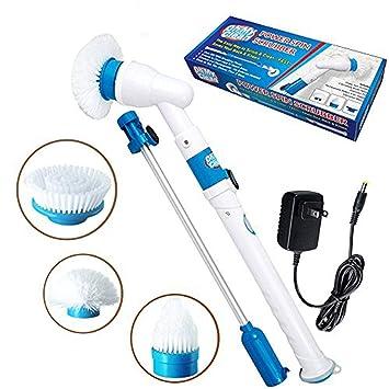 Cepillo De Limpieza Power Spin Scrubber 3 Cabezas De Cepillo, Poste De Extensión, Batería