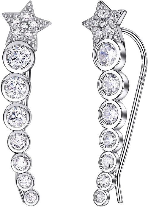 Star Stud Earrings Ear Climber Cuff Earrings Ear Crawler Fashion Jewelry Gift