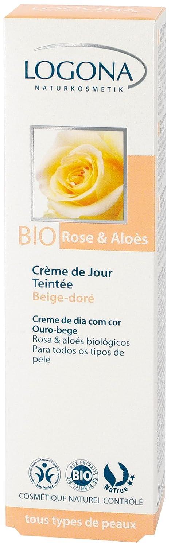 Logona Organic Beige Gold Tinted Day Cream, Rose and Aloe, 1 Ounce