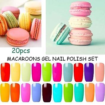 Blue Velvet 20 Colors Gel Nail Polish Set Colorful Macaroon Nail Varnish  Starter Kit Summer Nail Designs