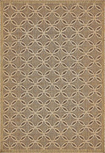 Unique Loom Outdoor Trellis Collection Geometric Border Transitional Indoor and Outdoor Flatweave Light Brown  Area Rug (6' 0 x 9' 0) ()