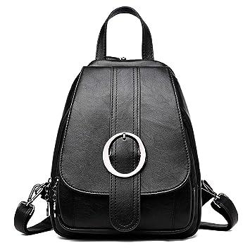 Mochilas pequeñas de Cuero para niñas, Mujeres, Mochila Vintage, diseñador, Mujer, sólido, Mochila para Mujer Black Backpacks: Amazon.es: Equipaje
