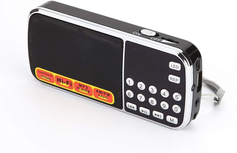 NCR AM FM Digital Battery Rechargeable Portable Radio, Handheld, Dual Speakers, Heavy Bass, LED Flashlight, PocketSize, TF Card, USB, AUX, MP3 Player (Black)