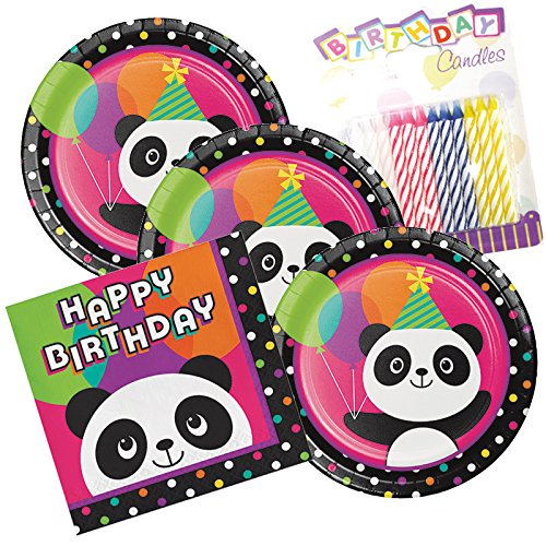 (Panda-monium Happy Birthday Theme Plates and Napkins Serves 16 With Birthday Candles)