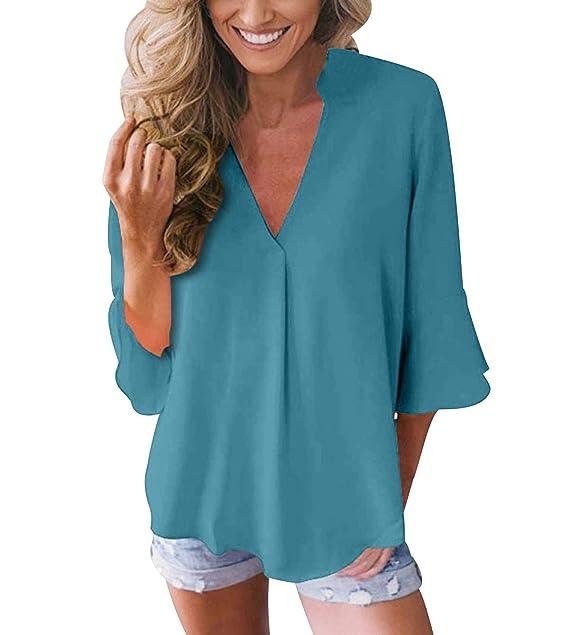 Blusas con Volantes Mujer Escote V Blusa Camisas Señora Top Camisa de Gasa Larga Camiseras Oficina Elegantes Camisetas Cuello V Lisas Blusones Vestir ...