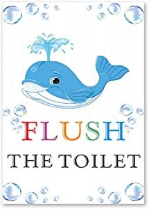 """Funny Blue Whale Bathroom Wall Art Prints,Animal Poster Poster with Flush the Toilet,Wall Art Canvas for Bathroom Sign, Hotel Bathroom,Family Bathroom Printable Home Decor.(Unframed,16""""X24""""inches) ."""