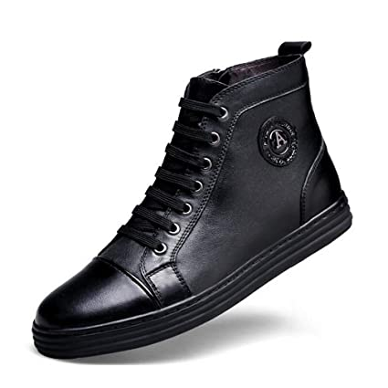 14c9c180c79f Amazon.com : Hy Men's Casual Shoes, Leather Fall Winter Flat Deck ...