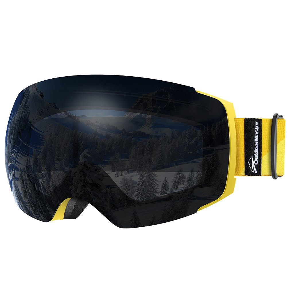 OutdoorMaster Ski Goggles PRO - Frameless, Interchangeable Lens 100% UV400 Protection Snow Goggles for Men & Women ( Yellow Frame VLT 7.5% Black Lens and Free Protective Case ) by OutdoorMaster
