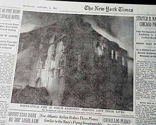 (MARLBOROUGH HOTEL Apartment Minneapolis MN Minnesota FIRE Disaster1940 Newspaper THE NEW YORK TIMES, January 4,)