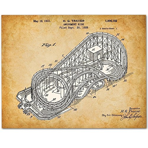 Cyclone Roller Coaster - 11x14 Unframed Patent Print - Great Gift for Amusement Park Fans ()