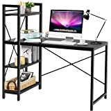 Tangkula Computer Desk with 4 Tier Shelves, Study Writing Table with Storage Bookshelves, Modern Compact Home Office Workstat