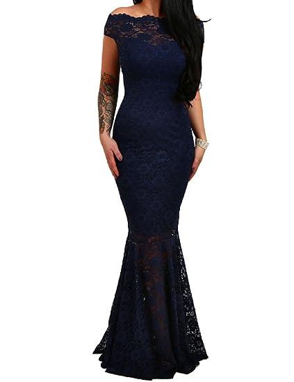 Lrud Donne Off Shouler Sera Nozze Bardot Lace Sirena Bodycon Maxi Vestito   Amazon.it  Abbigliamento bca3f9a5513