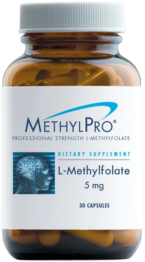 MethylPro 5mg L-Methylfolate 30 Capsules - No Fillers, Professional Strength 5000mcg Active Folate, 5-MTHF for Mood, Homocysteine Methylation + Immune Support, Non-GMO + Gluten-Free by MethylPro
