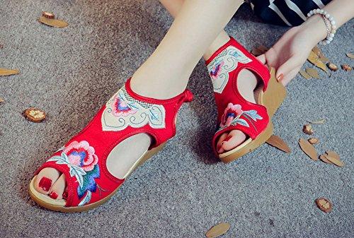 Avacostume Womens Retro Contrasto Colore Ricamo Cava Casual Sandali Con Zeppa Rosso