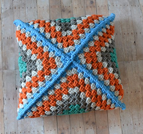 Granny Square Throw Pillow, Modern Crochet Cushion, 14 Square Pillow